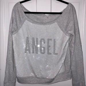 VS ANGEL sequins off the shoulder sweatshirt